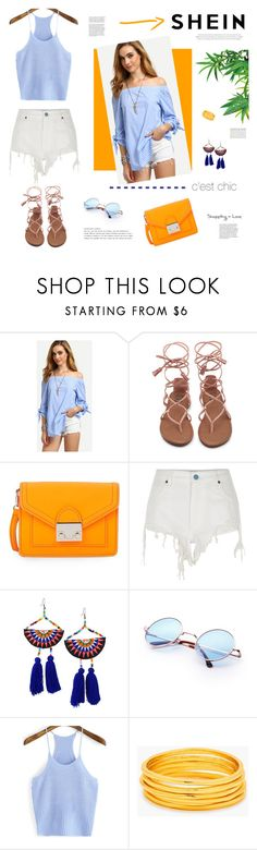 """Fun looks!"" by stream ❤ liked on Polyvore featuring Loeffler Randall, River Island, Panacea, Gorjana, Tiffany & Co., white, SHORTSHORTS, summerfashion, OrangeAccents and shein"