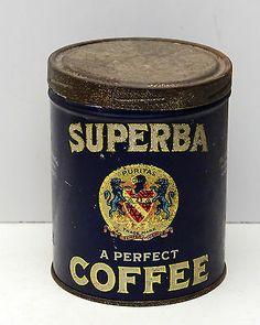Vintage Coffee Tin Superba Rare