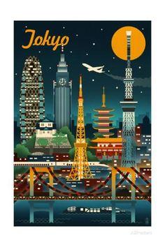 Tokyo, Japan - Retro Skyline Reproduction d'art