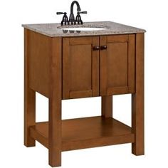 American Classics Palisades 27 in. W Vanity in Bourbon Cherry with Granite Vanity Top in Beige with White Basin-PPPLSBRC26Y at The Home Depot