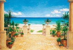 Fototapete Motivtapete Bildtapete Wall Mural Terrace Landscape Terrasse zum Meer Blumen Karibik Südsee Strand Gemälde 8-Teilig - Größe 366 x 254 cm