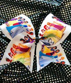 $7. Disney Princess cheerleading hair bow. Fun practice cheer bow. #cheerleading #ad Cheerleading Hair Bows, Cheer Bows, Cheer Gifts, Gift Bows, How To Make Bows, Happy Halloween, Cheers, Disney Princess, Making Bows