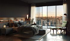 Cozy Bedroom design idea // cgi visualization Modern Luxury Bedroom, Luxury Bedroom Design, Modern Master Bedroom, Master Bedroom Design, Cozy Bedroom, Luxurious Bedrooms, Dream Home Design, Home Interior Design, House Design