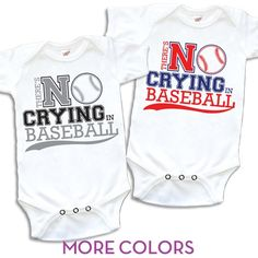 Gearing up for baseball season with 7 brand new team color-ways for our No Crying in Baseball onesie!  -$26.00