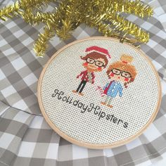 These hipsters can't wait to be in your home this year! Customizable options of hair/ skin/ and saying {like Merry Christmas or names} make these an awesome part of your holiday decor! -- #clothandtwig #holidaydecor #christmas #christmasdecor #etsy #crossstitch #makersgonnamake #giftideas #dmcthread #hipsterdoofus #hipster #creativelifehappylife #