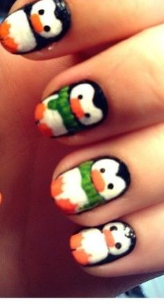 Penguin Nail Art - I want one of these lil guys on my nails....all penguins is a bit much!