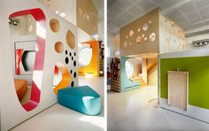 Kindergarten in Tromso - stacked moveable wall modules create many spaces within spaces for exploring and inhabiting.