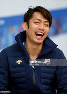 Daisuke Takahashi of Japan is interviewed on day 10 of the Sochi 2014 Winter Olympics at MPC on February 17 2014 in Sochi Russia