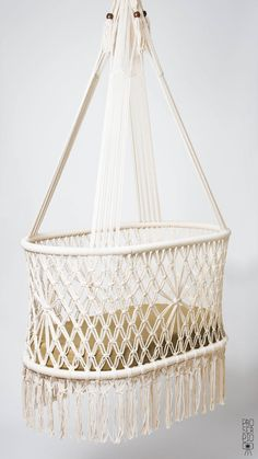 "PREORDER OF Hanging Crib in Macrame, Oval Shape, Cream color cotton ropes. High Quality. L36""x W21"", Fair Trade handicraft. 100%NATURAL"