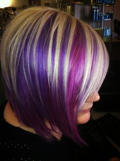 Bold hair! Purple and blonde. Short hair rocks! #invertedbob