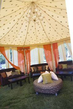 I like the idea of fabric covering the outdoor ceiling . . . application may not be practical.