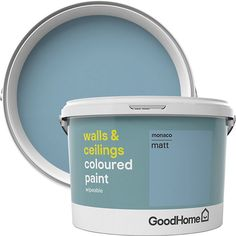 GoodHome Walls & ceilings Toulon Silk Emulsion paint walls and ceilings paint is ideal for your interior spaces. It gives a smooth and wipeable finish so your newly painted look will last for longer Merida, Colored Ceiling, Interior Paint, The Hamptons, Keep It Cleaner, Diys, Ceilings, Walls, Painting