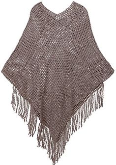 AshopZ Womens Soft Knit Shawl Wrap Fashion Tassel Edge Sweater with Sequins