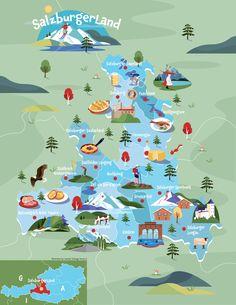 Illustrated map of SalzburgerLand, Austria by Jasmijn Solange Evans Austria, Evans, Illustrations, Map, Design, Illustration, Location Map, Maps, Illustrators