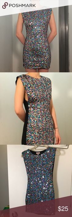 TOPSHOP Bling Bling Party Dress A stunning statement piece, eye-grabbing 👀!  Beautiful condition, only worn few times, slight wear on the back side. Tight fit, stretchy back. Topshop Dresses Mini
