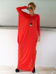 Red Maxi Long Sleeve Dress / Red Kaftan / by SynthiaCouture