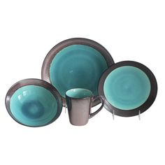 Features:  -Set includes 4 dinner plate, 4 salad plate, 4 bowl and 4 mug.  -Material: Stoneware.  -The rim color is brushed copper.  -Mug capacity: 16 oz.  Color: -Jade.  Style: -Contemporary.  Materi