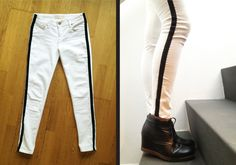 4 Easy Steps For Developing A Sunroom Diy Side Stripe Pants - Simple Sewing Craft That Will Breathe New Life Into An Old Pair Of Pants. Diy Clothes Videos, Clothes Crafts, Sewing Clothes, Side Stripe Trousers, Stripped Pants, White Skinny Jeans, White Pants, Striped Jeans, Recycled Fashion