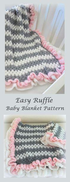 Crochet Ruffle Baby Blanket Pattern by Deborah O'Leary Patterns #crochet #baby #blanket #ruffle #grannysquare