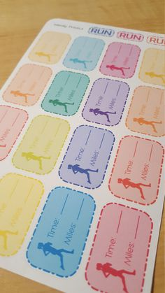 Running Tracker Stickers Run Time Mile Sticker Planner Stickers Erin Condren Life Planner Mambi Filofax Fitness Sticker Workout (2.00 GBP) by WendyPrints