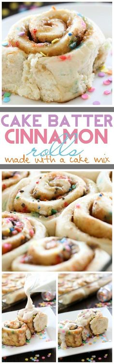 Cake Batter Cinnamon Rolls {Made with a Cake Mix!} on http://chef-in-training.com ...These could be the easiest and most delicious cinnamon rolls ever! #recipe #dessert