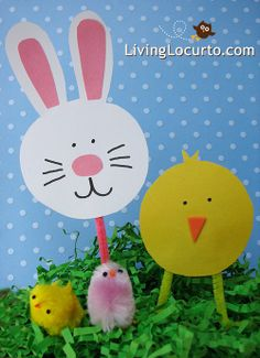 Bunny Chick Basket Decorations, Easter Crafts for Kids, Easter craft ideas #2014 Easter Handpainted Paper Crafts