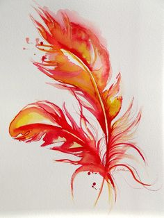 Original Abstract FireBird Feathers Watercolor Painting - Abstract Art by LanasArt. $35.00, via Etsy.