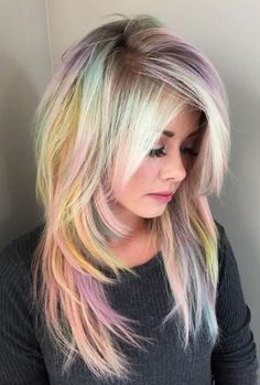 Expressive Opal Hair Color For Every Occasion blonde-and-pastel-rainbow-hair Cabello Opal, Pravana Hair Color, Pastel Rainbow Hair, Colorful Hair, Multicolored Hair, Opal Hair, Ombré Hair, Hair Dye, Emo Hair