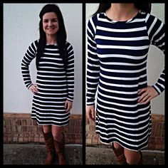 Navy/white striped dress, easy to wear for all your fall events like Rhythms, DTA, dinner with friends...just pair with our $38 cognac boots and you are good to go! $78
