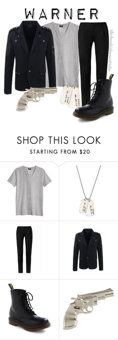 """""""Warner from Shatter Me"""" by the-bookish-wardrobe ❤ liked on Polyvore featuring H&M, AnnaBee, Yves Saint Laurent and Dr. Martens"""