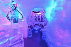The interior of Minus5 Ice Bar at the New York Hilton Hotel in New York City. The bar is built from 90 tons of ice, kept at 23 degrees Fahrenheit, and can hold 55 people at a time.