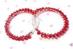 Red Hot Beaded Hoop Earrings by GirlieGals on Etsy,