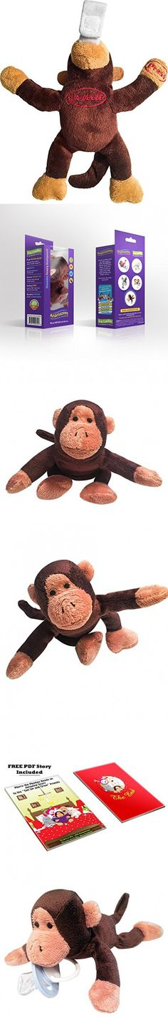 Anamazees, The First 5-in-1 Pacifier, Morry the Monkey, 9 Inches/Brown, (Baby Rattle, Sings ABC's, Squeak Toy, Plush Animal Detachable Paci Holder), Gift Set