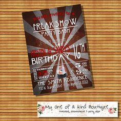 Freak show birthday party invitation freakshow by myooakboutique