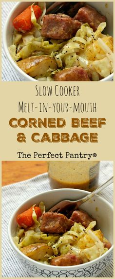 Get your slow cooker on! This new corned beef and cabbage recipe gives the St. Patrick's Day tradition a whole new look! [ThePerfectPantry.com]