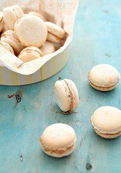 Vanilla macarons with speculoos filling
