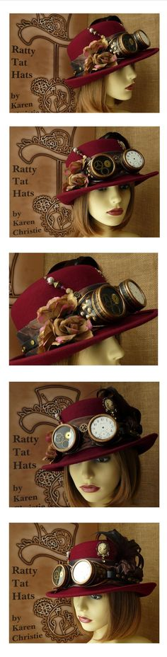 Ladies Brimmed Steampunk Cloche Hat with Aviator Goggles - The Amy Johnson. 100% Wool hat, handmade and satin lined. One of a kind design, complete with antique pocket watch detail, gilt frosted fabric roses, cameo, hatpins and brass buckle strapped goggles Adjustable size. Available from website £85.00 + p&p. Worldwide secure delivery.