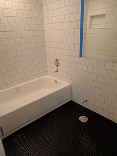 6x6 Offset White Wall Tile With Black 1x1 Mosaic Floor