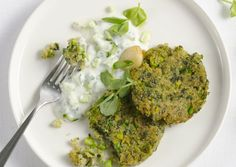 South Indian Lentil Cakes with Raita  At Philadelphia's Bindi, legumes and rice are soaked, ground with herbs and spices, then formed into patties and pan-fried to make these cakes.
