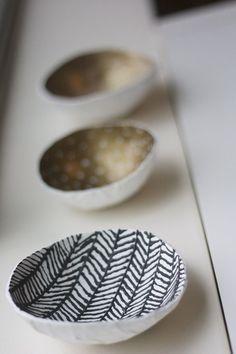 Paper Mache Bowls for keys, etc.