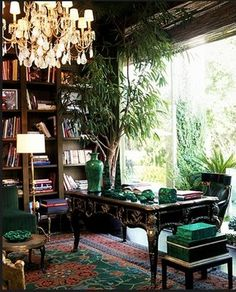 Kelly Wearstler.  Another lovely home library/office..