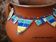 String beads and broken china to make a pot necklace.  Instructions on link.