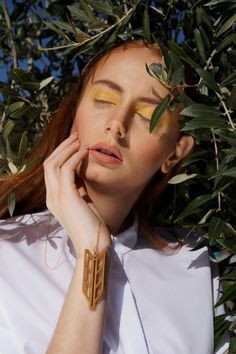 Demeter necklace// Goddess of Agriculture and Mother of Humans, has been identified with nature and cultivation. Hold this wheat, as a God-sent gift! Model: Sophia Zachariadou Clothing: Lefkon Photograph: Iro Simaioforidou