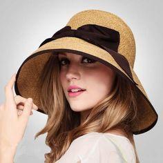 ecf9da513e9 Brown straw bucket hat with bow womens wide brimmed sun hat UV