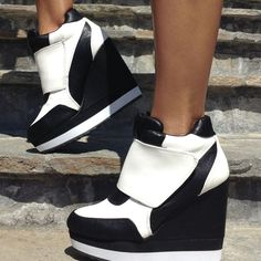 White Faux Leather Two Tone Sneaker Wedges at ILoveCuteShoes.com