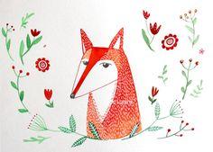 Red Fox nursery wall art, child's room decor. on Etsy, $34.99
