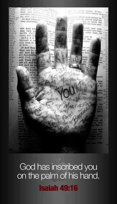 Know This ~ God Loves you and has you covered/protected in the palm of his hand......Isaiah 49:16