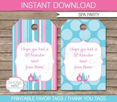 Spa Party Favor Tag or Thank You Tag  INSTANT by SIMONEmadeit