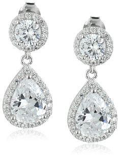 737997e61 925 Sterling Silver Tear Drop AAA Cubic Zirconia Post Drop Earrings  >>>