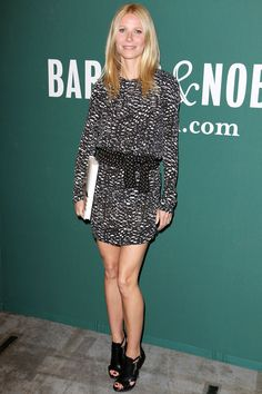 Gwyneth Paltrow wearing an Isabel Marant monochrome printed dress and Michael Kors open-toed sandals